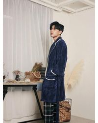 ULLALA PAJAMAS - Saint Navy Men Robe - Lyst