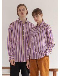 TARGETTO - [unisex] Stripe Shirt Purple - Lyst