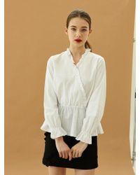 W Concept - Cross Frill Shirt White - Lyst
