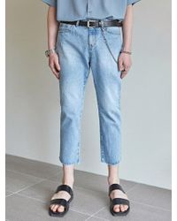 YAN13 - New Straight Crop Denim Pants Denim - Lyst
