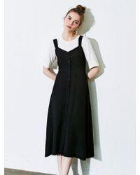 LIUNICK - Button Sleeveless One-piece Black - Lyst