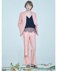 Clue de Clare - Linen Notched Collar Blazer Pink - Lyst