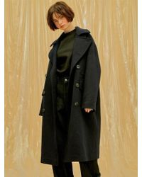 1159 STUDIOS - Over Fit Double Long Cashmere Coat_navy - Lyst