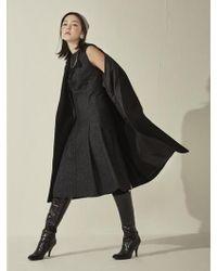 Aheit - Wool Silk Sleeveless Flared Dress Black - Lyst