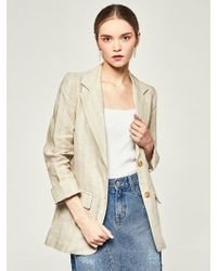 LIUNICK - Harmony Stripe Linen Jacket Beige - Lyst