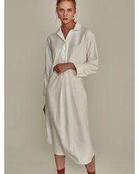 YAN13 - Robe Slit Long Shirt Dress Ivory - Lyst