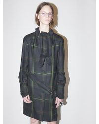 Bouton - Tied Trench Coat-green Check - Lyst