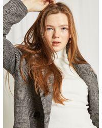 PLOT - Check Half Wool Coat Check Black - Lyst