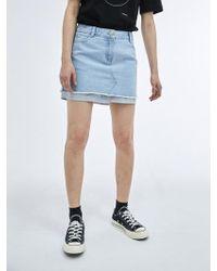 COLLABOTORY - Shirt Layered Denim Mini Skirt - Lyst