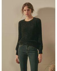 YAN13 - Slim Faux Fur Knit Black - Lyst