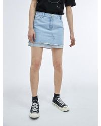 COLLABOTORY - Shirt Layered Denim Mini Skirt - Lyst