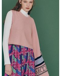 W Concept - Unbalanced Mic Tied Cape Pink - Lyst