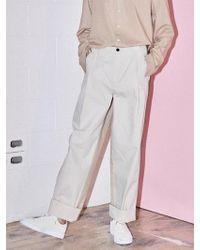 NOHANT - [unisex] Do Not Reverse Cotton Trousers Beige - Lyst