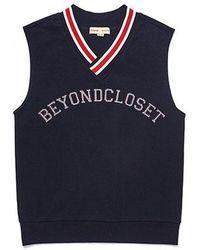Beyond Closet - Preppy Logo Patch Vest Navy - Lyst
