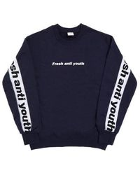 FRESH ANTI YOUTH - Band-crewneck Sweater Navy - Lyst