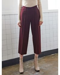 LIUNICK - Pintuck Wide Ankle Pants Wine - Lyst
