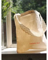 FUNFROMFUN - Lace Shoulder Cotton Bag - Lyst