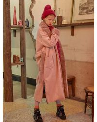 VVV - [unisex] Pink Faux Shearling Coat - Lyst