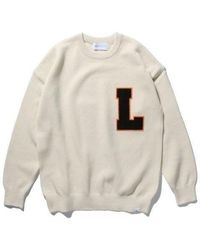LIFUL MINIMAL GARMENTS - [unisex] Collegle Logo Patched Knit Sweater Ivory - Lyst