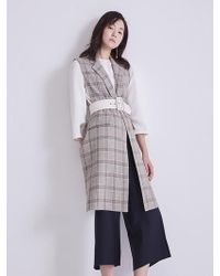 Aheit - Linen Check Pattern Khaki Vest - Lyst