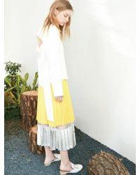 Clue de Clare - Shine Pleats Skirt Yellow - Lyst