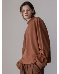 AEER - Puffed Sweat Cotton Tshirts Brown - Lyst