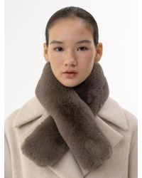 W Concept - Magnet Faux Fur Muffler Mocha - Lyst