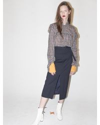 Bouton - Uneven Frilled Blouse - Orange Check - Lyst