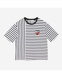 a.t.corner - Atts7b107n2 Navy Stripe Peace Love Patch T Shirt - Lyst