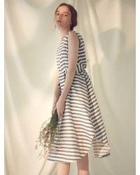 MILLOGREM - Striped Draped Dress - Navy - Lyst
