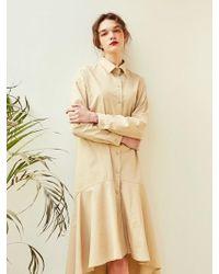 YAN13 - Natural Flare Long Dress Beige - Lyst