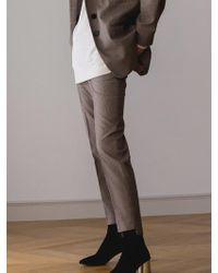 AEER - Glen Check Slim Trousers Beige - Lyst