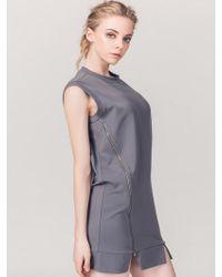 ABRAHAM K HANGUL - Side Zipper Sleeveless T-shirt Grey - Lyst
