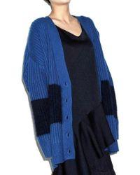 AYIHOLIC CASHMERE - Cashmere Angora Blend Line Cardigan Blue - Lyst