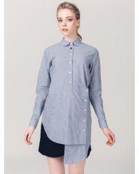 ABRAHAM K HANGUL - Unbalance Stripe Button Long Shirt - Lyst