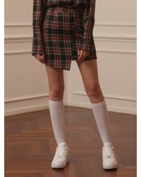 TARGETTO - Asymmetry Skirt Black Tartan Check - Lyst