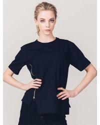 ABRAHAM K HANGUL - Side Zipper T-shirt Black - Lyst