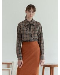 TARGETTO - Ribbon Blouse Brown Check - Lyst
