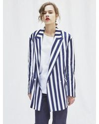 AEER - Bold Stripe Double Breasted Jacket - Lyst