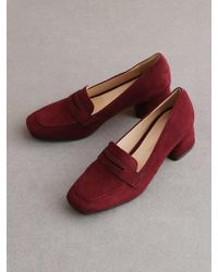 &W STUDIO - Loafer Suede Middle Heel - Lyst