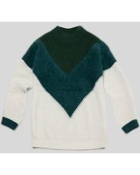 AYIHOLIC CASHMERE - Cashmere Angora Blend Multi Color Top Green - Lyst