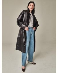Bouton - Blown Sleeve Trench Coat Black - Lyst