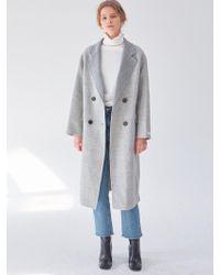 PLOT - Handmade Check Wool Coat Check Grey - Lyst