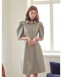 YAN13 - Soft Stripe Balloon Dress Khaki - Lyst