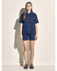 MONOPISPA - Women Marilyn Short Sleeve Pj Set Seersucker Navy - Lyst