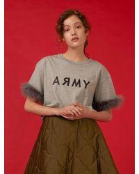 Fleamadonna - Army Feather T-shirt Grey - Lyst