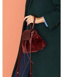 Atelier Park - Color Handle Fur Bag_burgandy - Lyst
