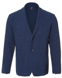J'RIUM - Denim Shawl Knit Jacket Navy - Lyst