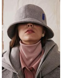 ADER error - Applique Bucket Hat Wool Grey - Lyst
