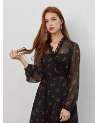 W Concept - Chiffon Cherry Wrap Dress - Lyst